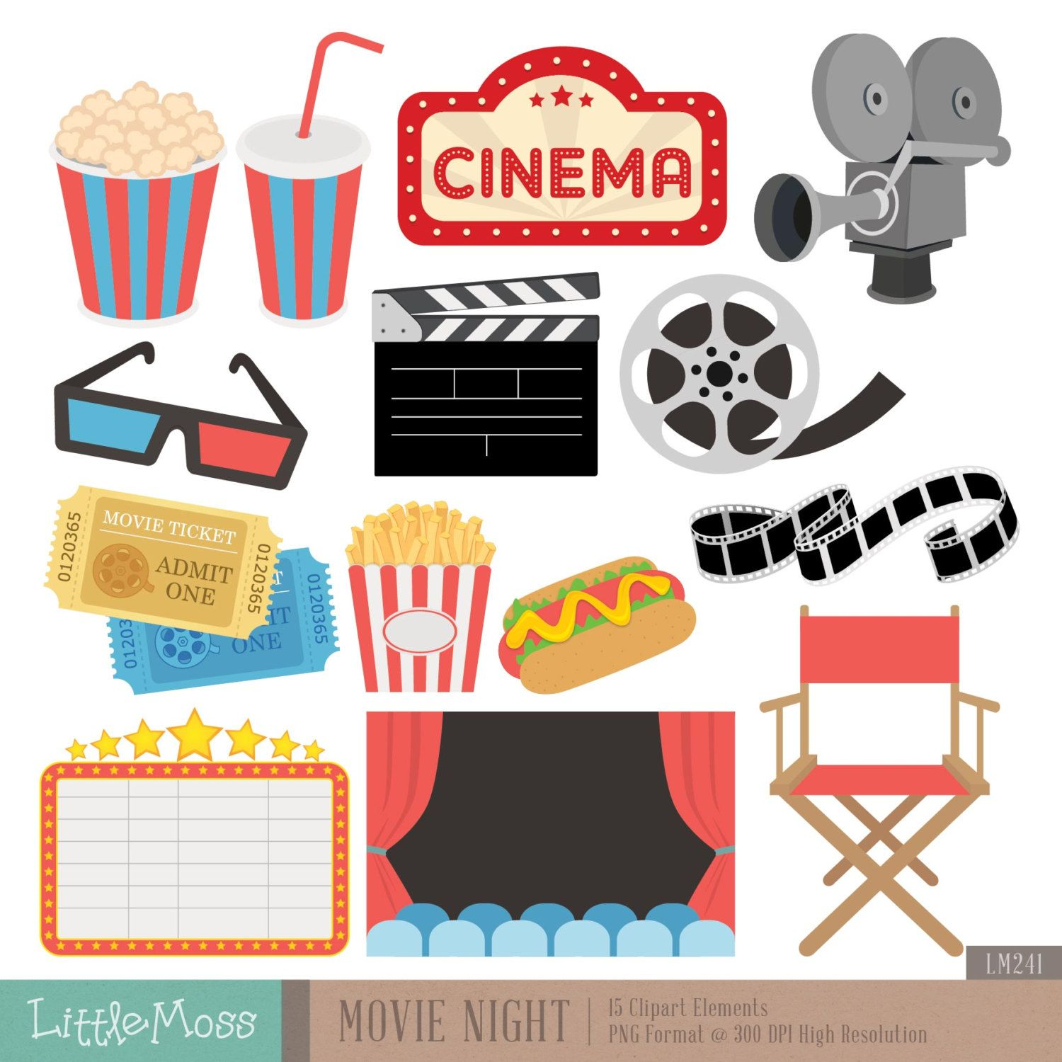royalty free download Cinema clipart movie party. Night digital clip art.