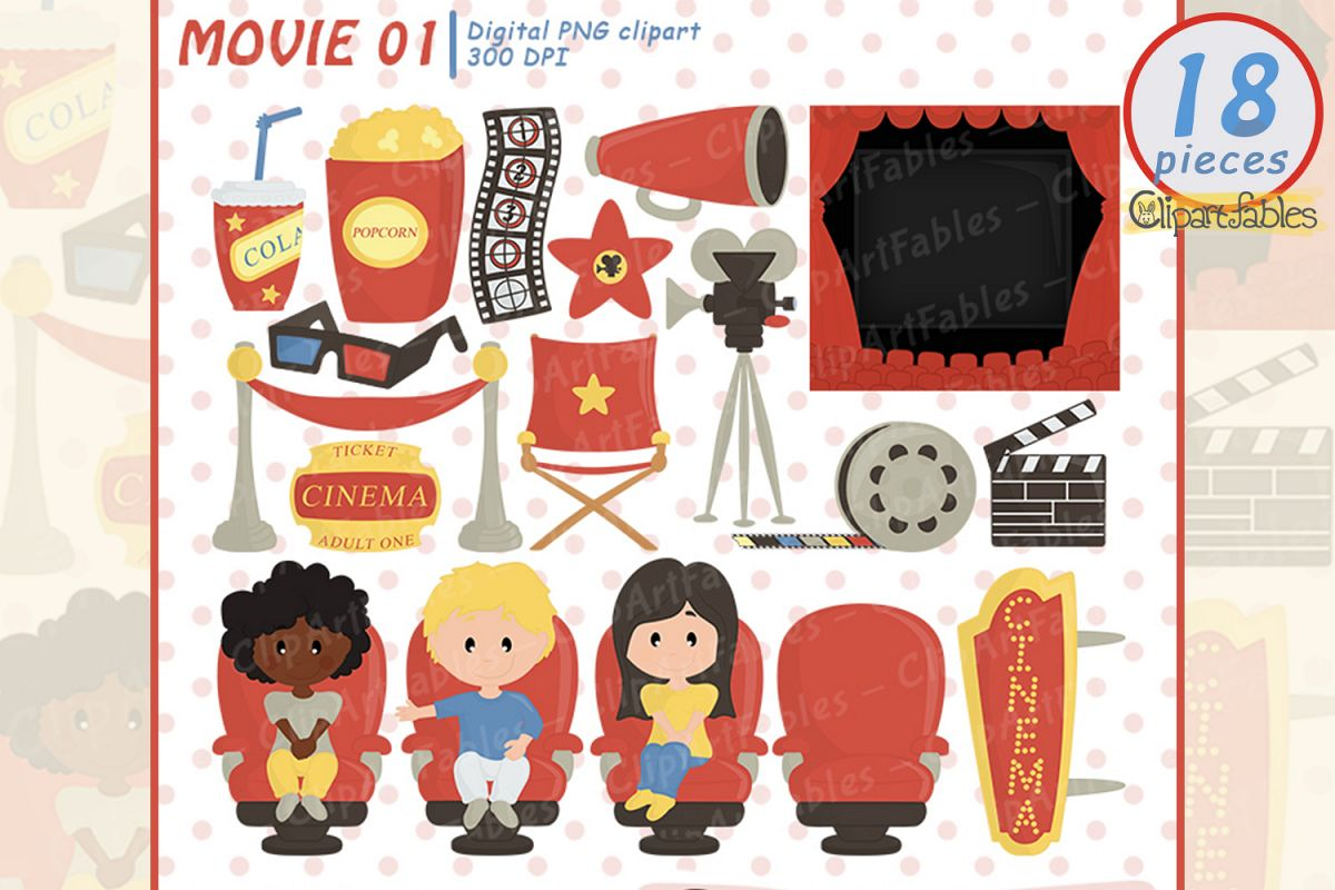 jpg black and white download Clip art . Cinema clipart movie party.