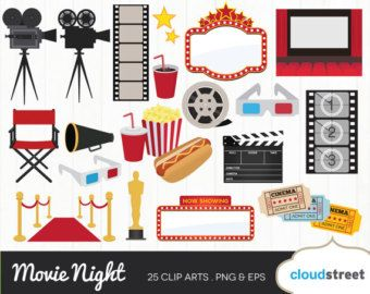 png download Cinema clipart movie party. Night clip art retro.