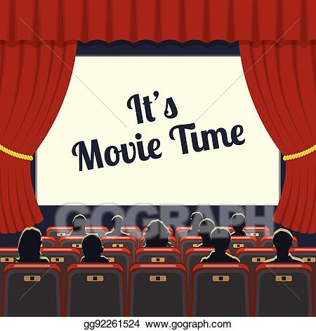 jpg freeuse library Cinema clipart theater audience. Vector art auditorium with.