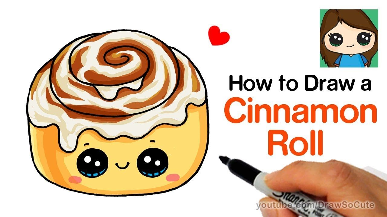 svg free Cinnamon roll clipart adorable. How to draw a.