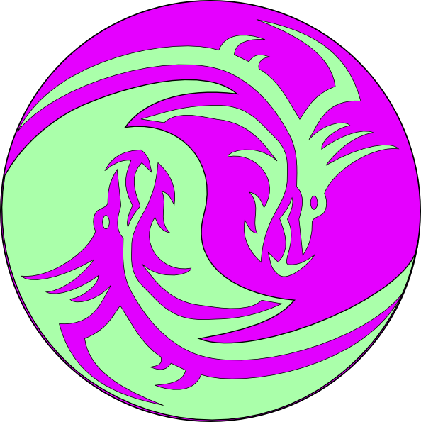 clip art freeuse stock Circle clipart dragon. Green purple dragons clip.