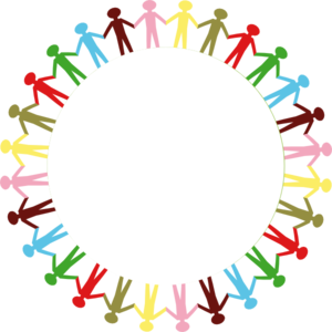 vector freeuse stock Circle clipart hand. Holding hands stick people.
