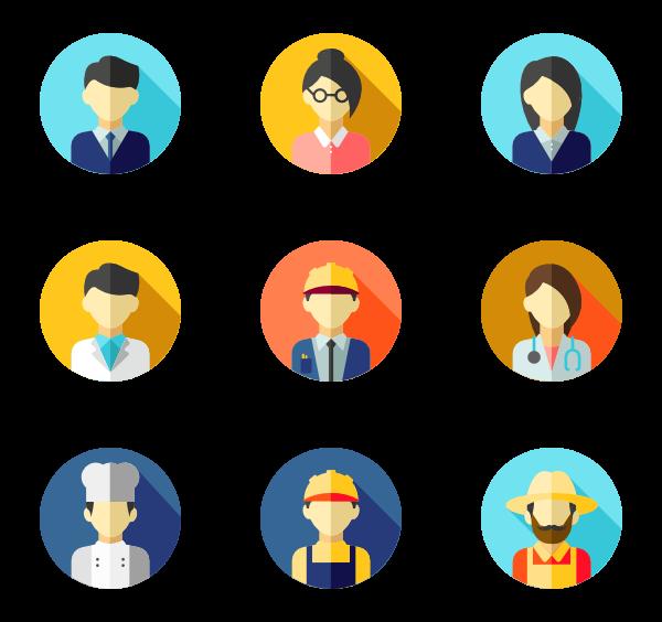 clip freeuse library Vector avatar profile. Flat circular icon family