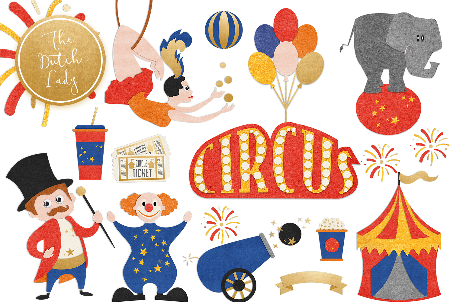image library stock Carnival show set vsual. Circus clipart