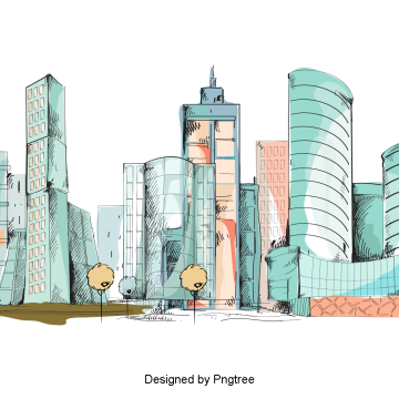 banner library Vector color city. Hand painted building png