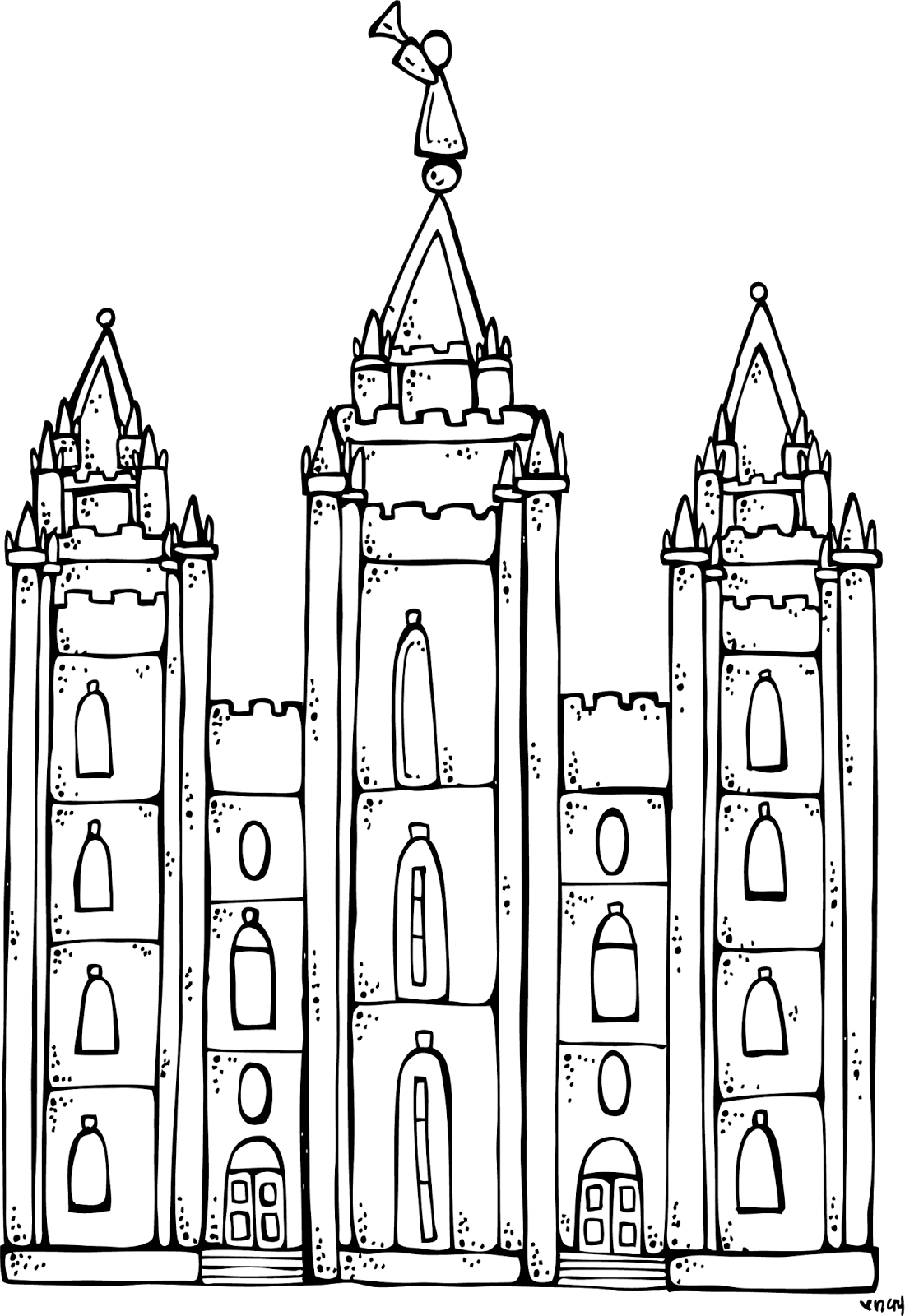 clipart black and white library Melonheadz lds illustrating i. City clipart colouring page