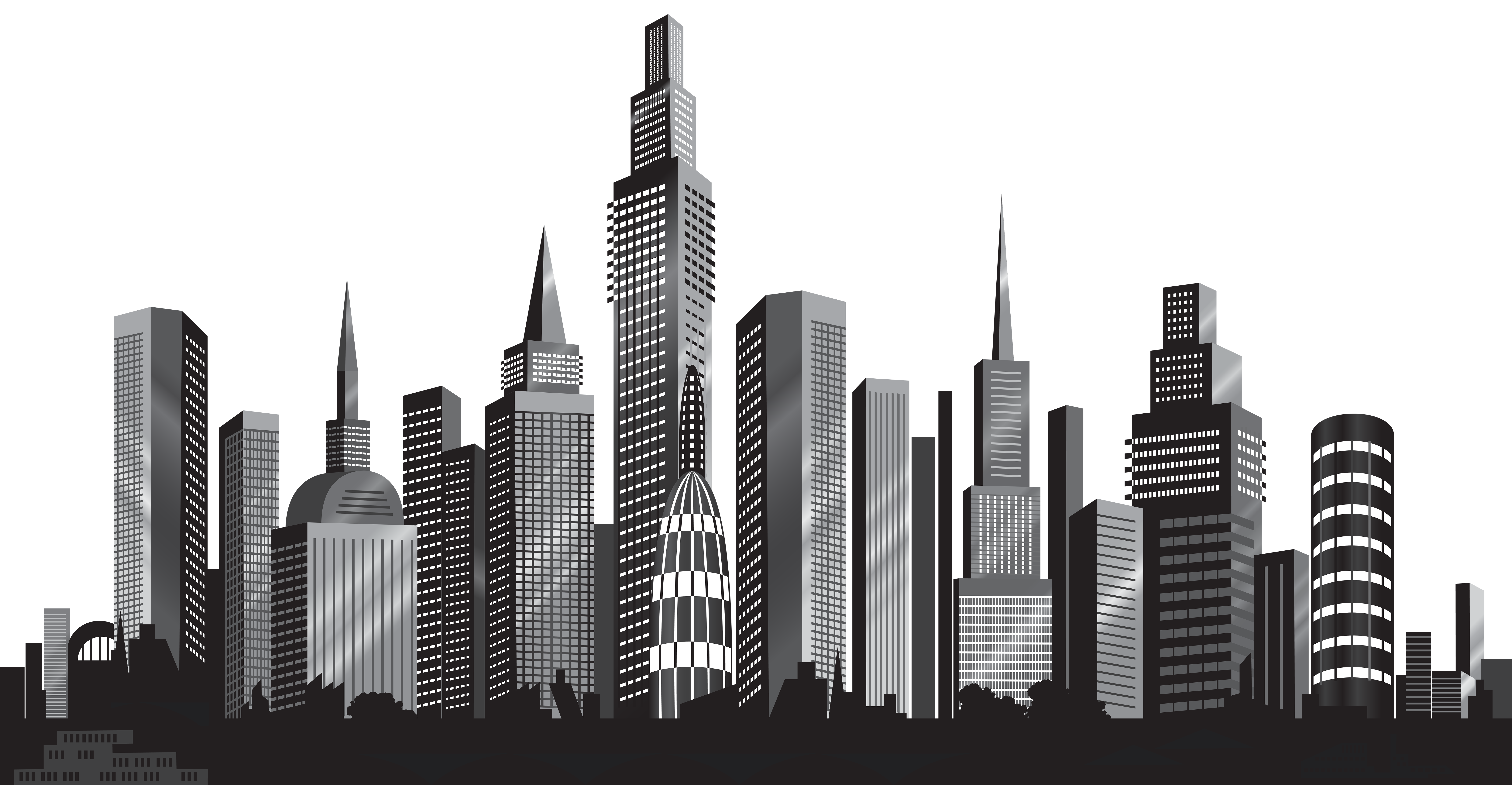png free Cityscape clipart. Silhouette png clip art
