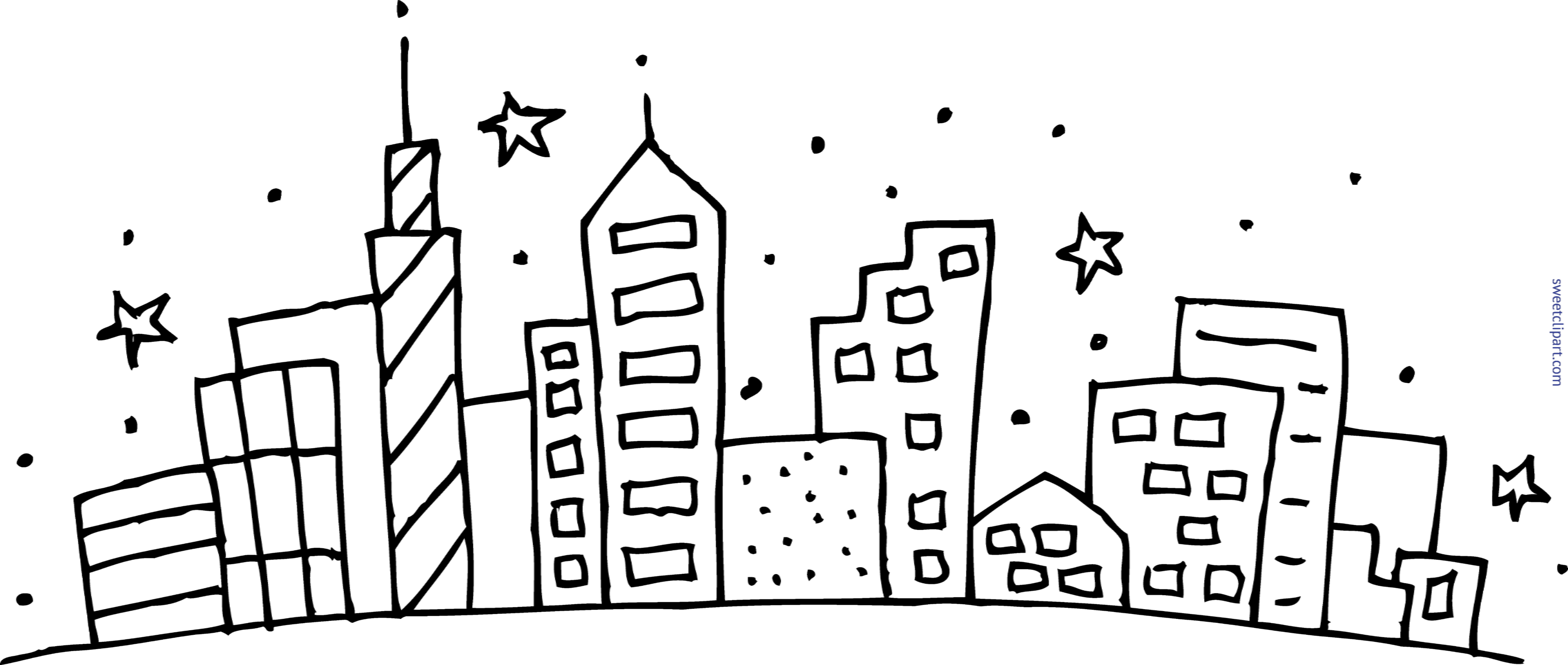 freeuse Cityscape clipart. Coloring page clip art