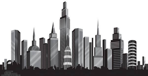 picture library library Cityscape clipart night time. Silhouette png clip art.