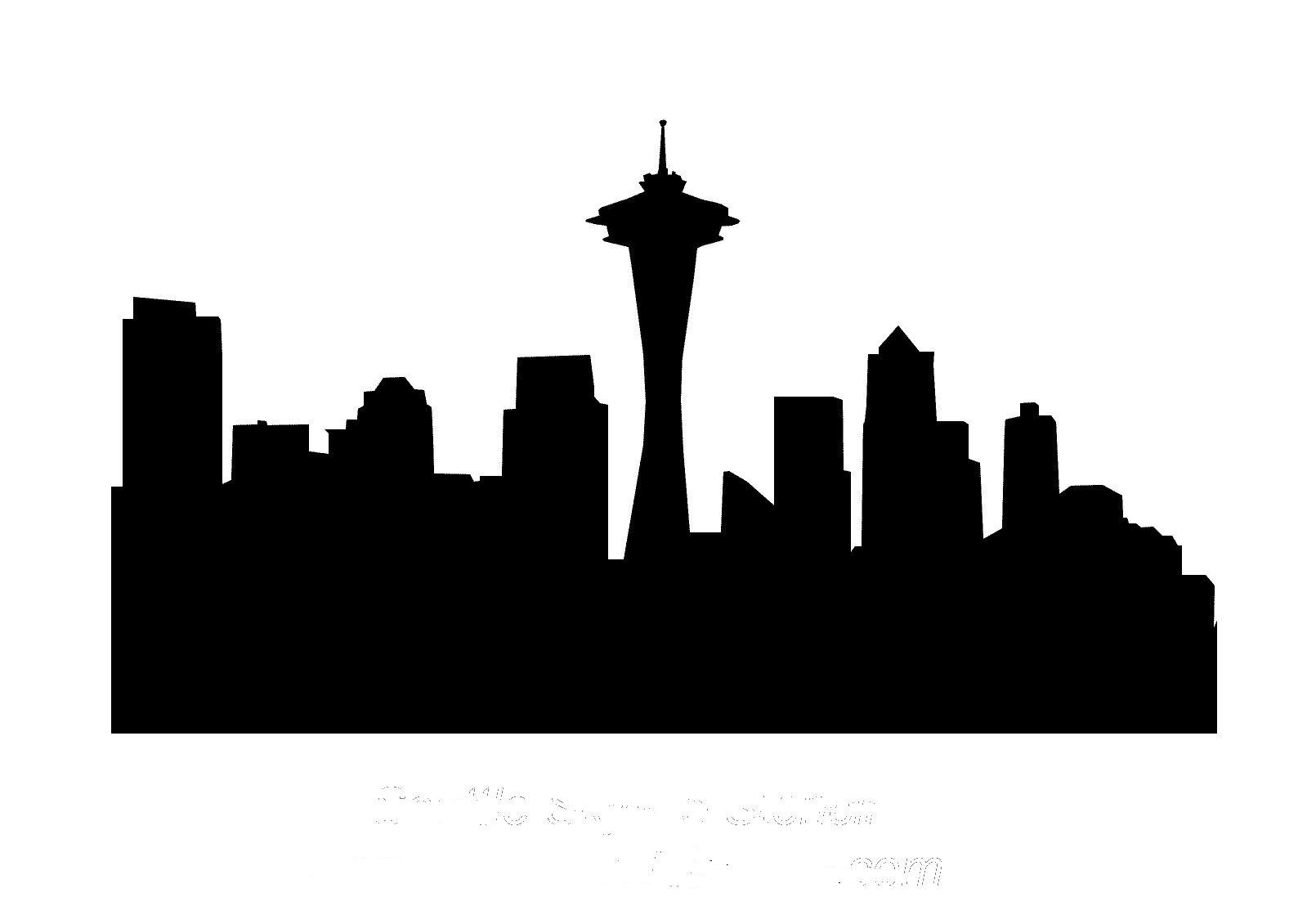 vector black and white library Cityscape clipart simple.  skyline clip art.