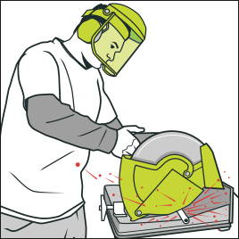black and white stock Safe use of machinery. Man clipart ppe.