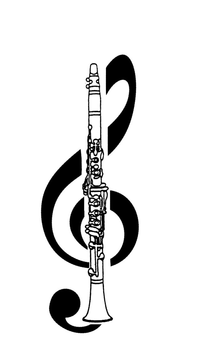 image royalty free Treble clef band in. Clarinet clipart beautiful.