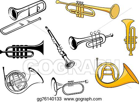 vector free download Clarinet clipart sketch. Vector illustration wind instruments.
