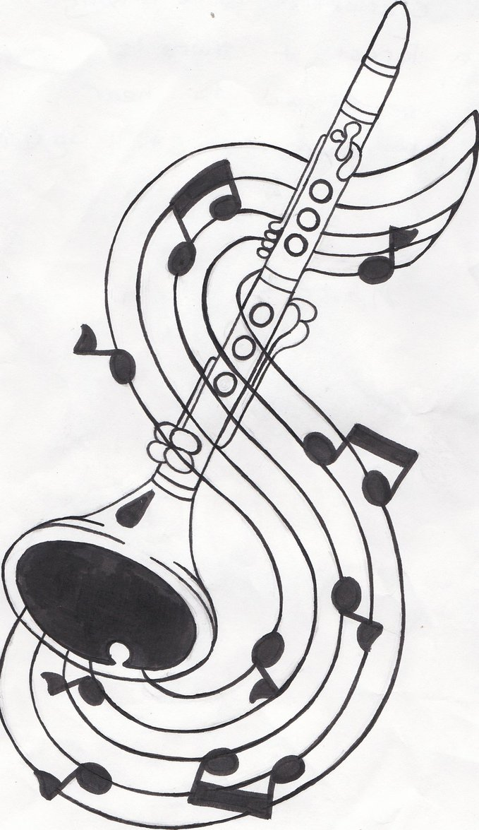 jpg black and white stock At paintingvalley com explore. Clarinet clipart sketch.