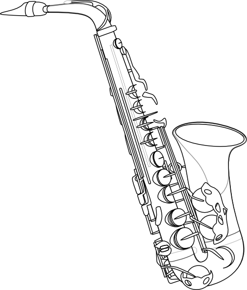 image black and white Tenor Saxophone Drawing at GetDrawings