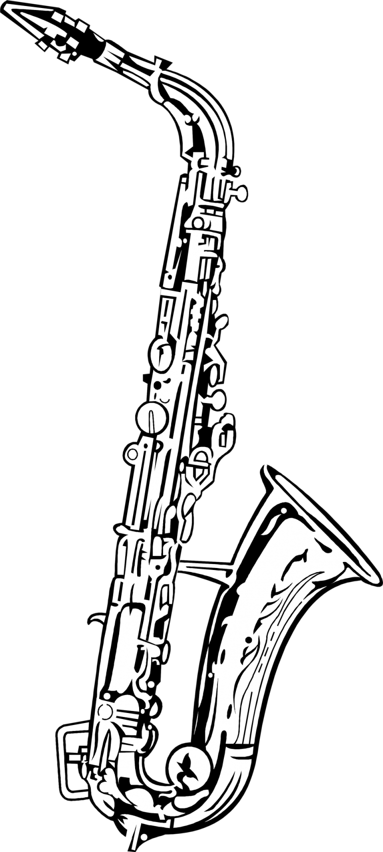 clip art free library Alto drawing tenor clip. Saxophone clipart black and white