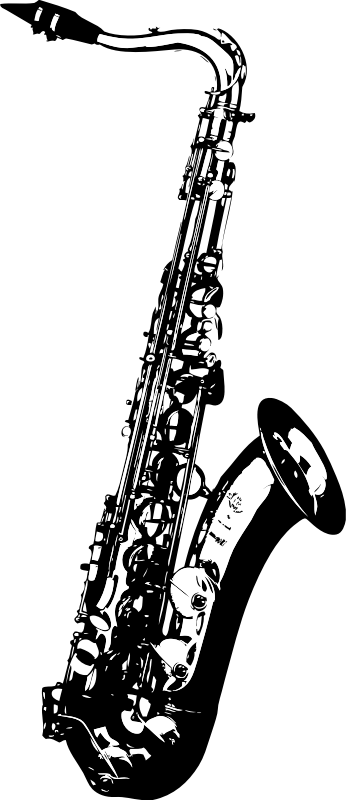 vector black and white download Saxophone medium image png. Clarinet clipart tenor sax