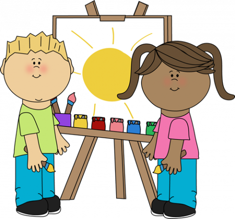 clip art black and white library Kids painting on class. Art easel clipart