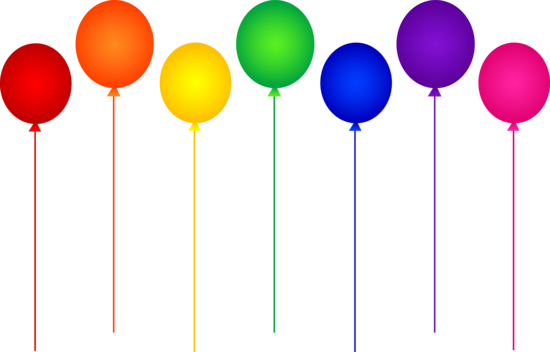 graphic black and white download Free clip art of a row of rainbow birthday party balloons