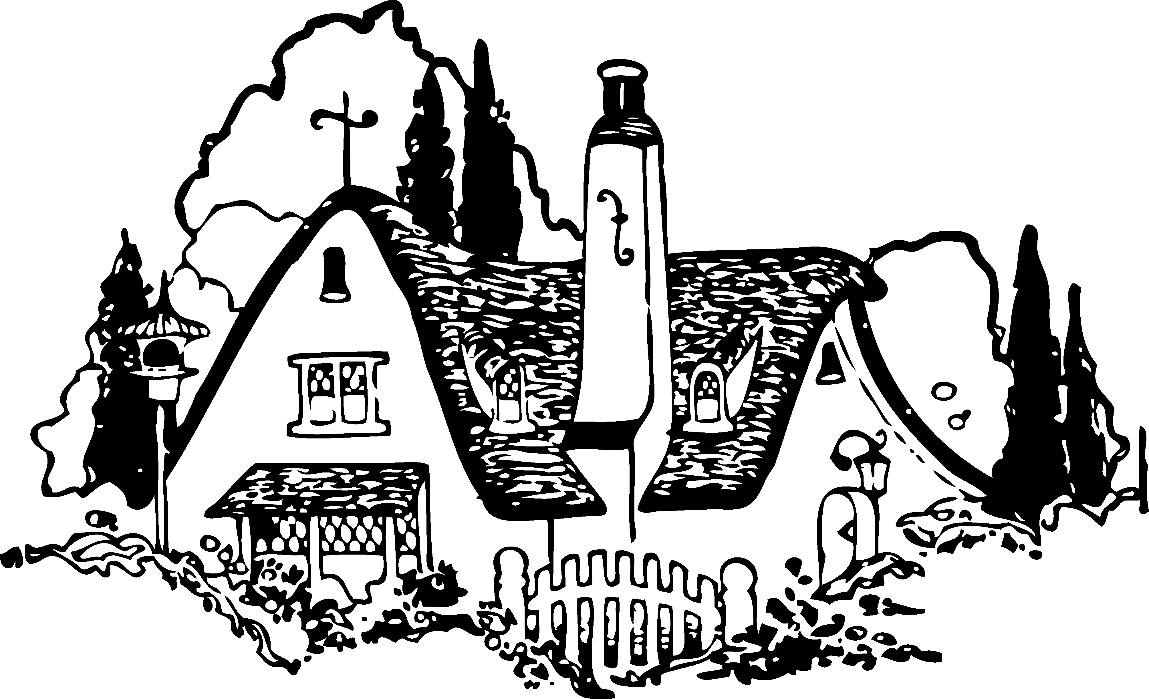 library Vintage house clip art. Classic clipart