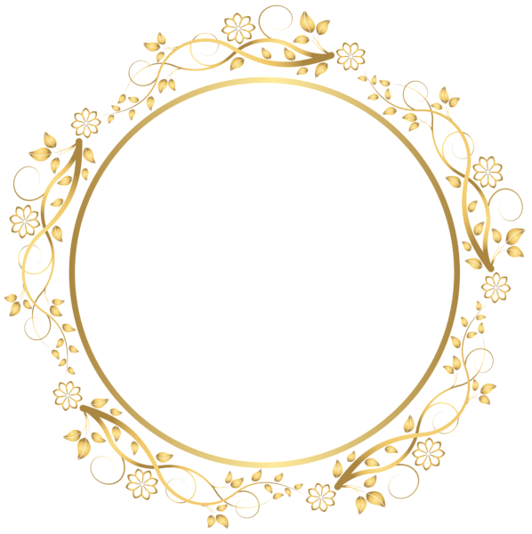 clipart freeuse stock Classic clipart country border. Gold round floral transparent.