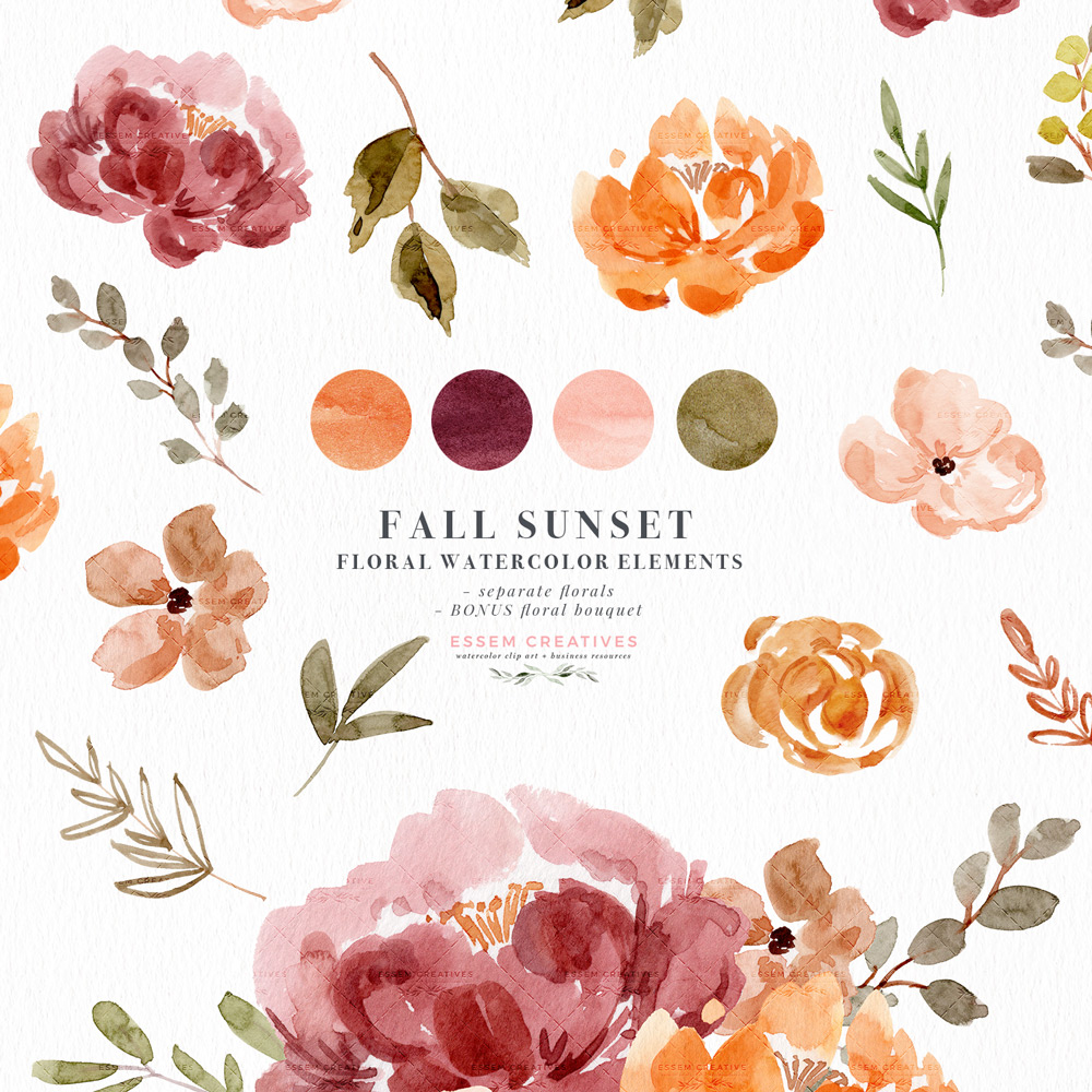 clip transparent download Fall watercolor flowers graphics. Classic clipart floral.