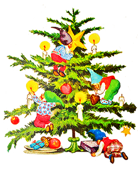 banner library library Christmas tree clip art. Classic clipart old fashion.