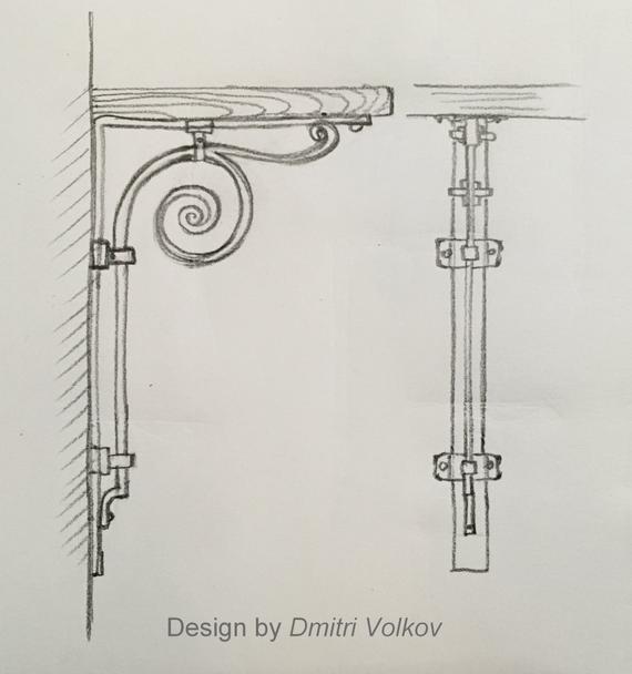 svg Classical drawing bracket. Shelf scroll metal iron