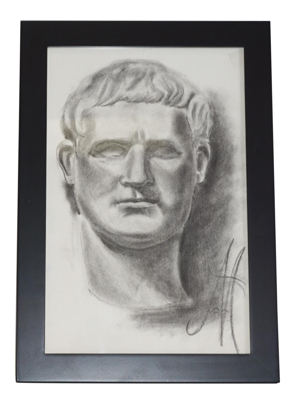 clip transparent library Vintage bust sketch chairish. Drawing charcoal male