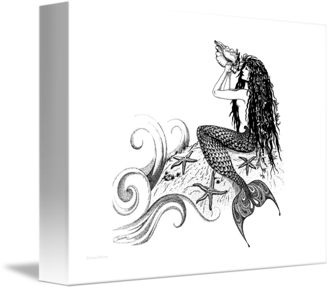 vector library Spiritual drawing pen. Mermaid blowing a conch