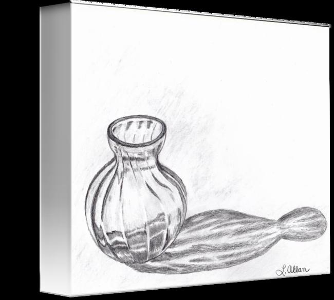 vector royalty free download Reflection Glass Vase Pencil Sketch by Linda Allan