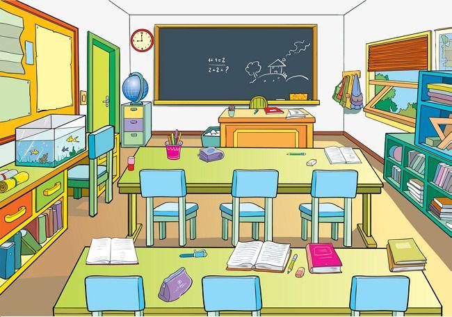 jpg free stock Cartoon school classrooms . Classroom clipart.