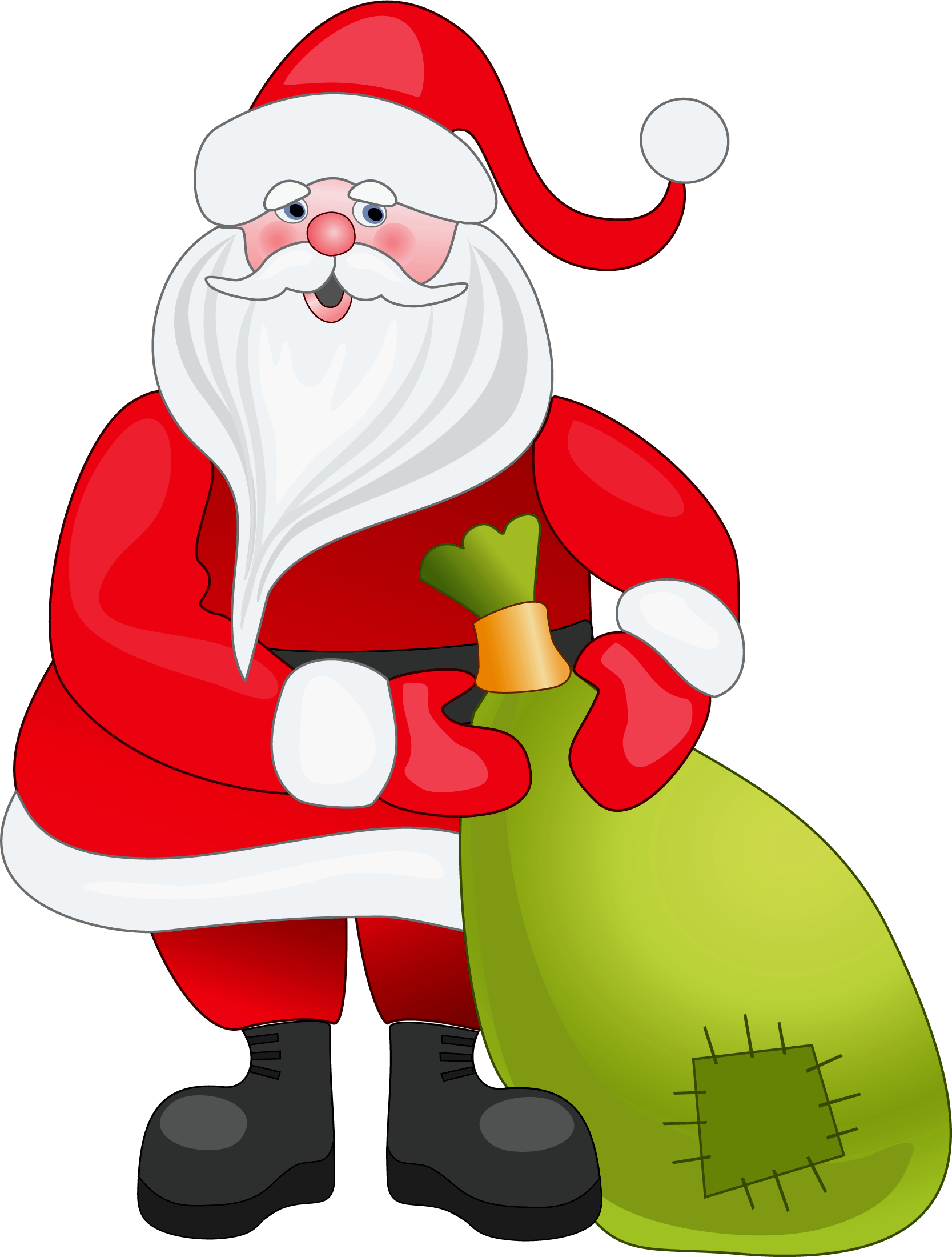 clip free library Claus clipart. Santa with green bag
