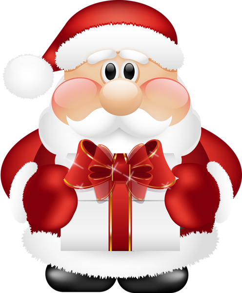 svg download Claus clipart. Cute santa with gift