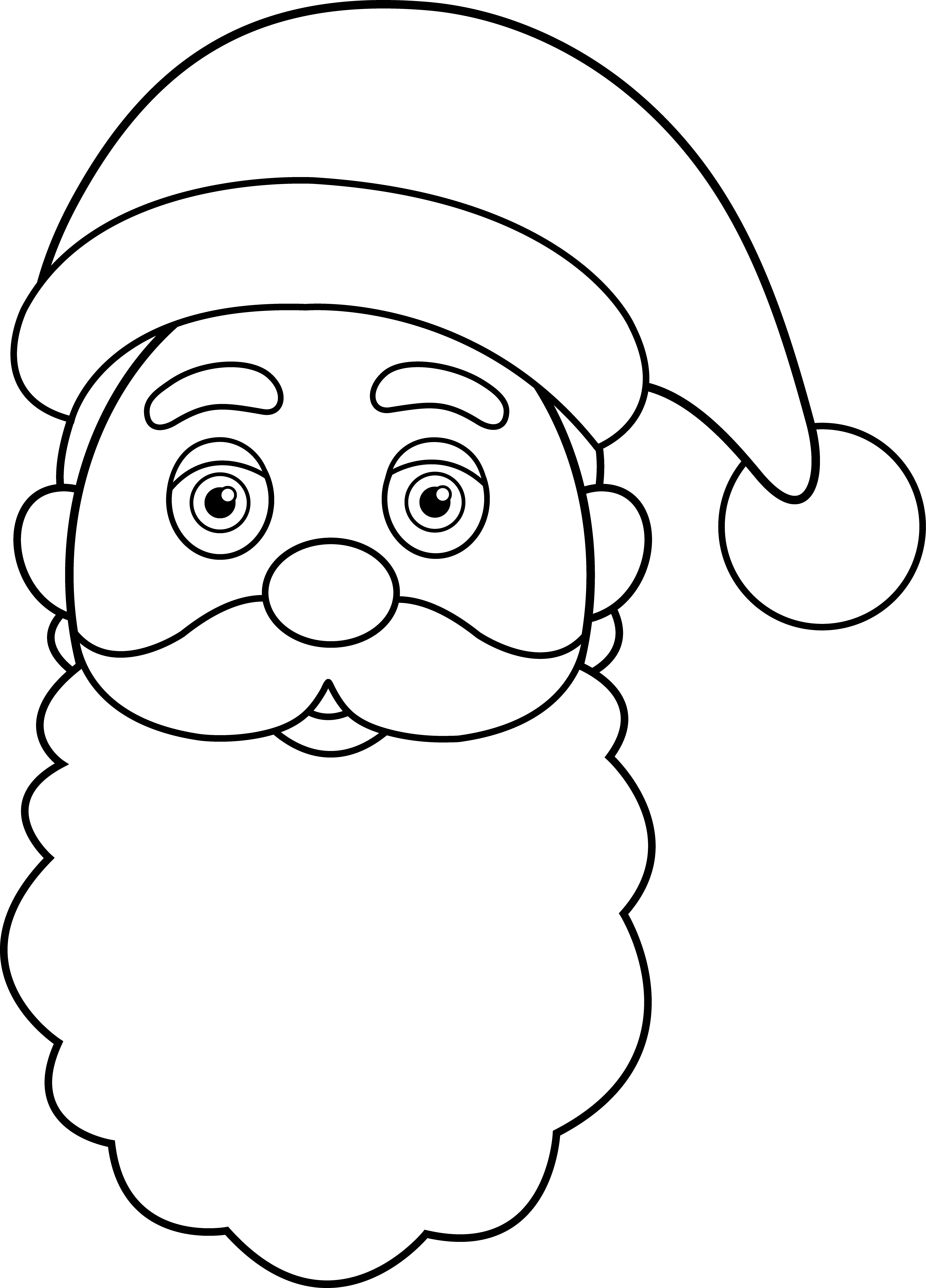 graphic royalty free Line art of claus. Santa beard clipart