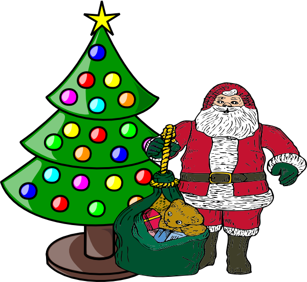 graphic royalty free stock Claus clipart clip art. Christmas tree with santa.