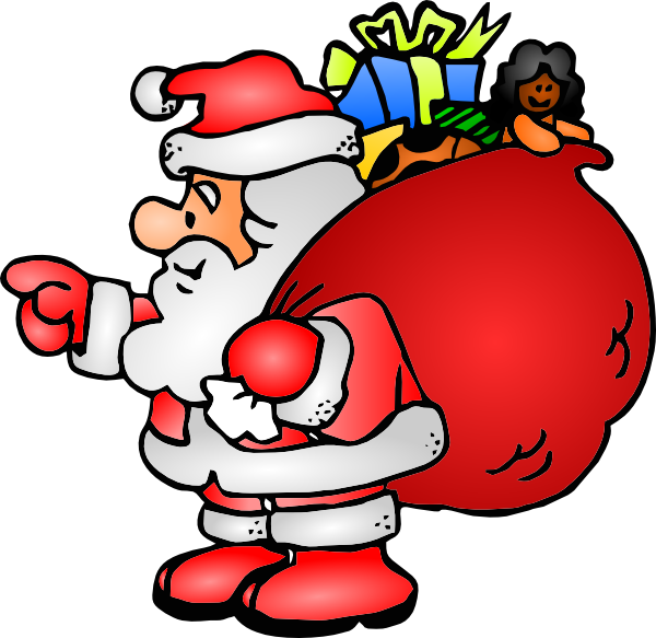 clip royalty free Claus clipart png. Santa with his bag.