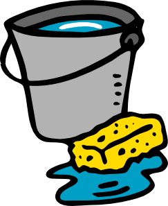 vector free library Bucket sponge water clip. Cleaning clipart.