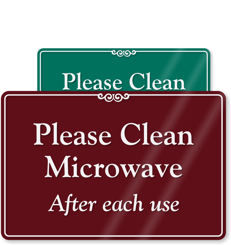 black and white Kitchen signs keep clean. Microwave clipart messy