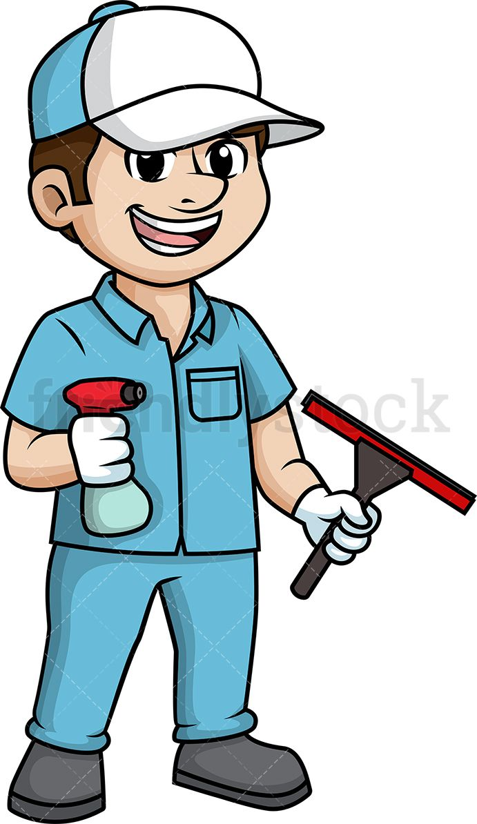 vector transparent library Male window cleaner dd. Squeegee vector clipart.