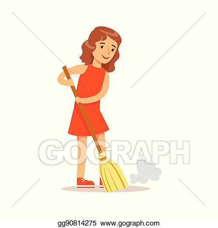 clip art royalty free library Cleaner clipart sweeping. Vector art girl the.