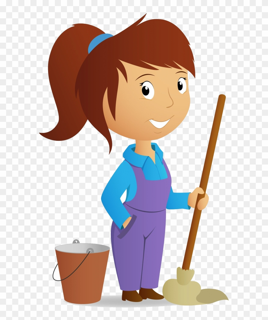 png black and white library Maid on call girl. Cleaning clipart.