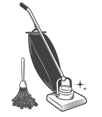 clip transparent Set of vintage tools. Cleaning clipart black and white.