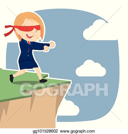 graphic black and white Vector stock blindfolded businesswoman. Cliff edge clipart.