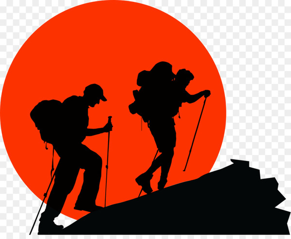vector transparent Climber clipart backpacker. Backpacking hiking silhouette clip.