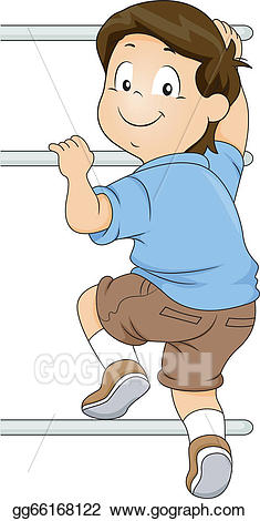 image stock Vector illustration kid boy. Climber clipart child.