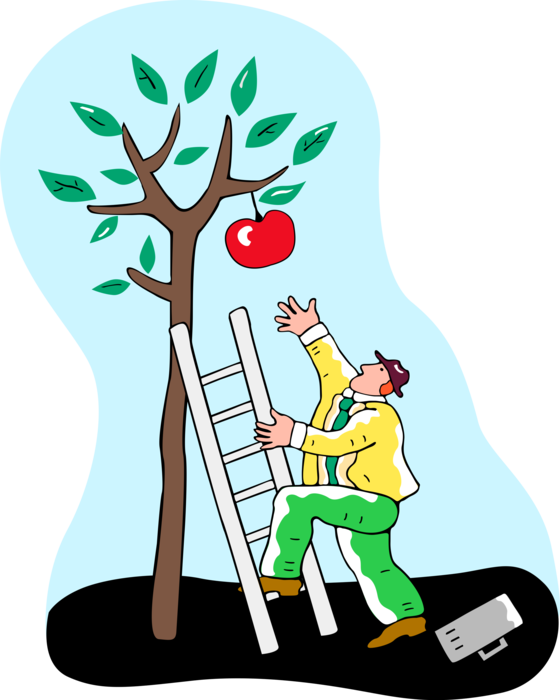 banner royalty free Entrepreneur climbs to reach. Climbing a ladder clipart