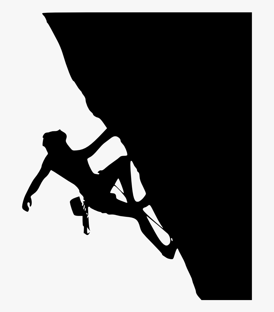 clip free stock Black and white boulder. Climber clipart rock climbing