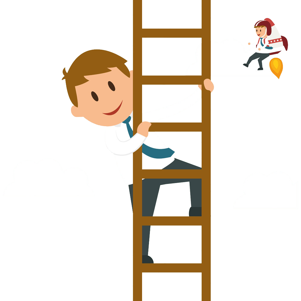 svg Climbing a ladder clipart. Cartoon businessperson graphic design